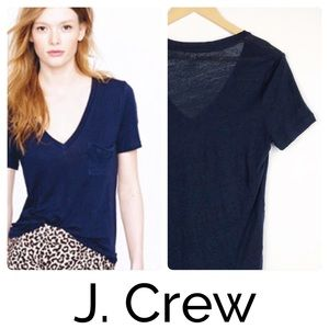 J. Crew Whisper 100% Linen V-Neck Tshirt Navy Blue